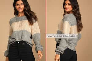GREY COLOR BLOCK KNIT SWEATER