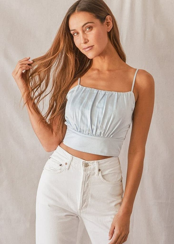 LUXE'D OUT LIGHT BLUE SATIN CROPPED TANK TOP