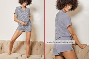 HEAVENLY NAVY BLUE AND WHITE STRIPED PAJAMA SET