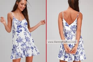 GARDEN BLOOM BLUE AND WHITE FLORAL PRINT RUFFLED SHIFT DRESS