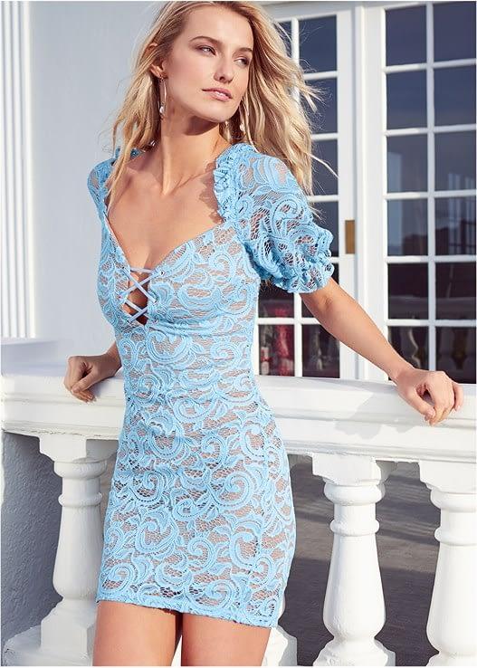 BLUE MULTI LACE DRESS