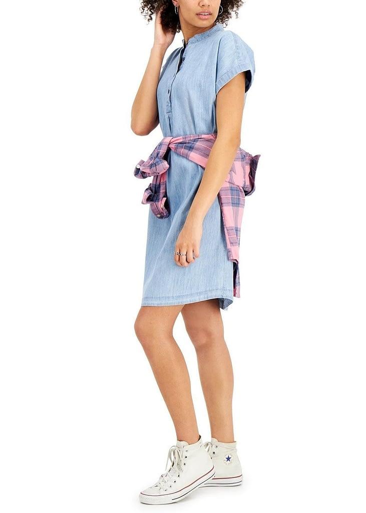 CHAMBRAY MANDARIN COLLAR SHIFT DRESS