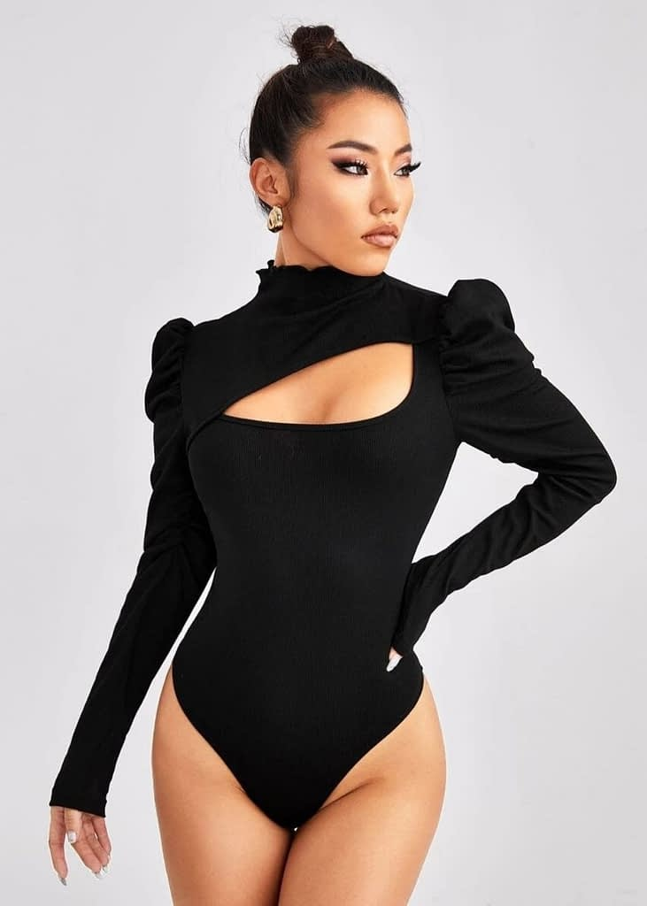 SHEIN GIGOT SLEEVE CUT OUT FRONT BODYSUIT