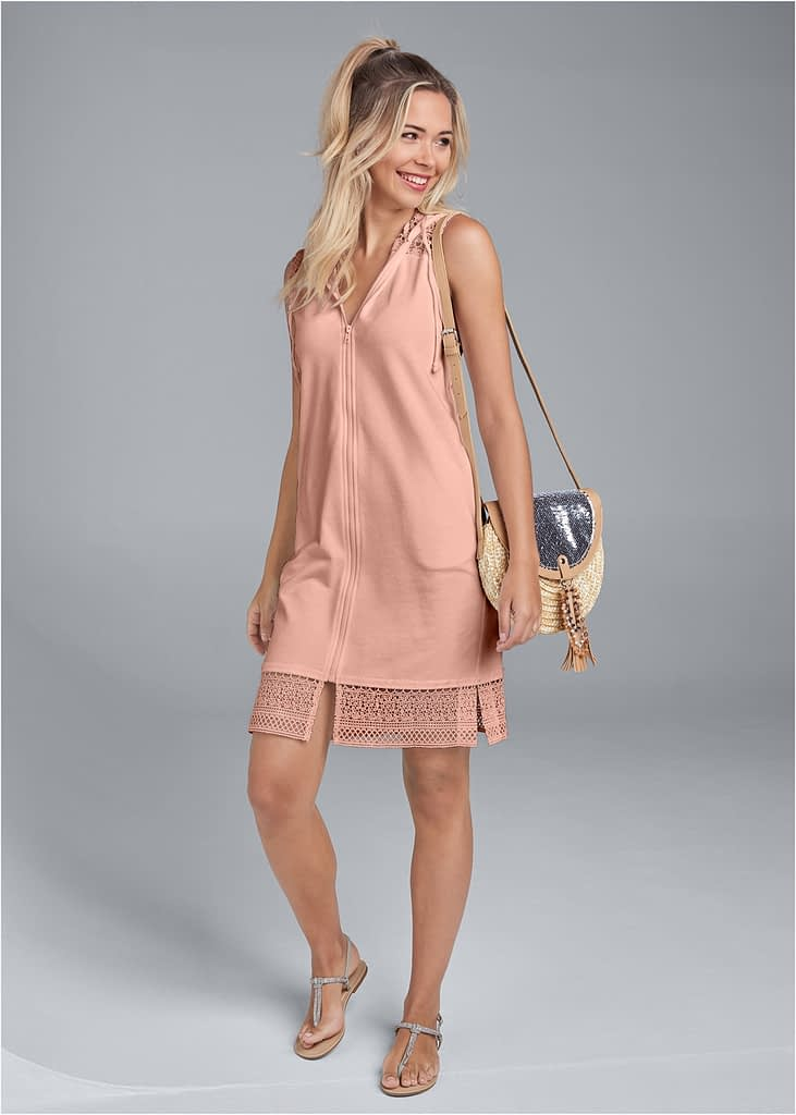 CROCHET TRIM LOUNGE DRESS