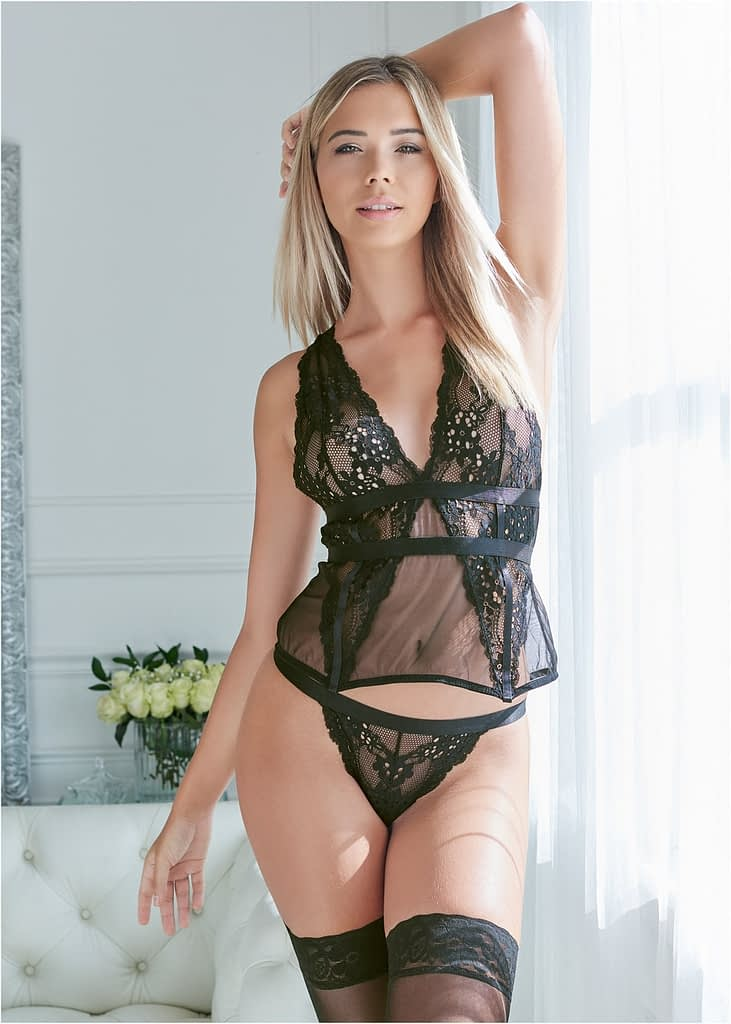 LACE AND MESH SEXY SET