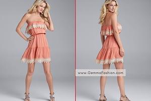 CROCHET DETAIL STRAPLESS DRESS