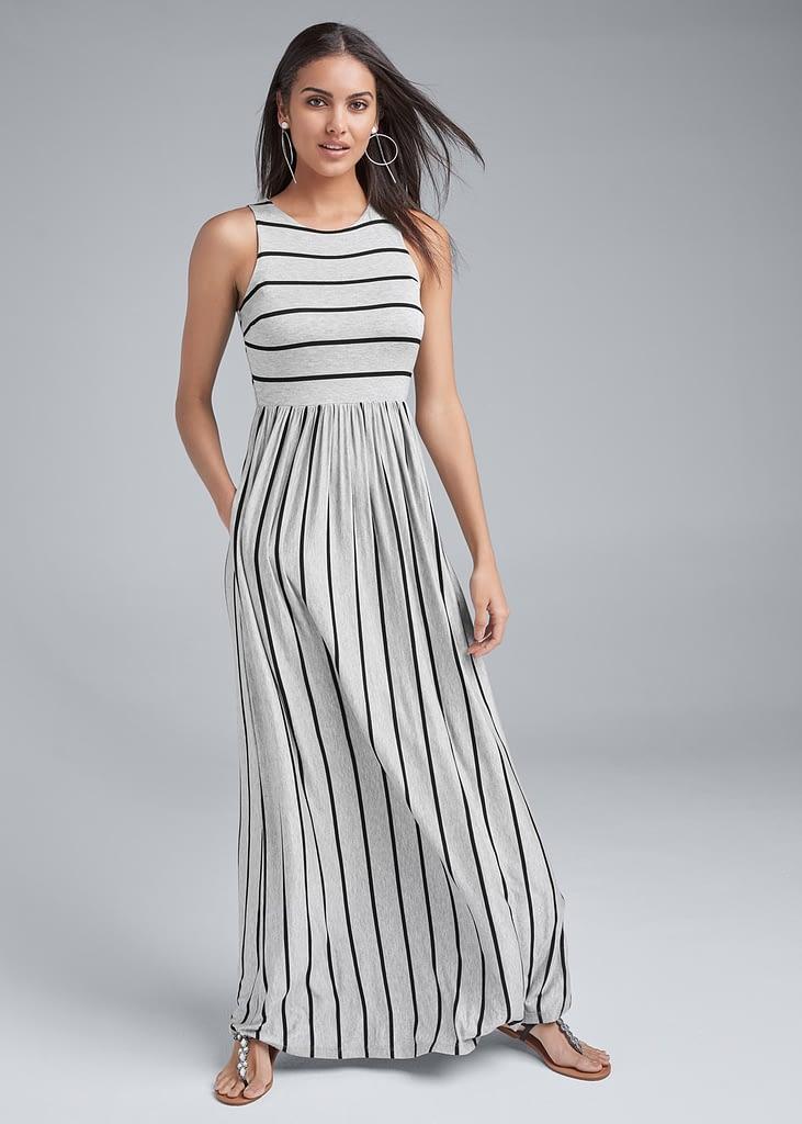 STRIPE MAXI DRESS - CLASSIC CREW NECK DRESS