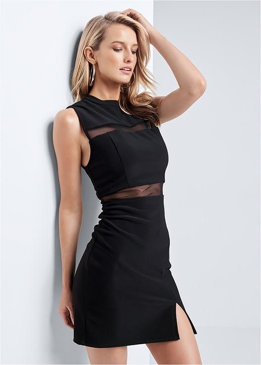 BLACK MESH DETAIL BODYCON DRESS