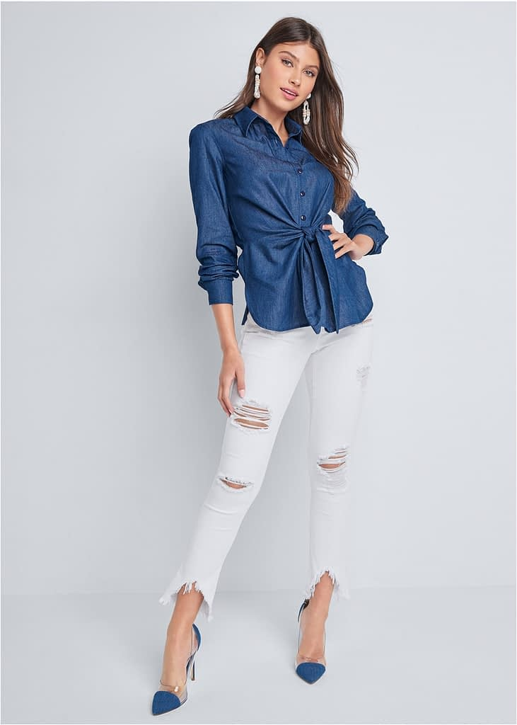 CHAMBRAY KNOT TWIST TOP
