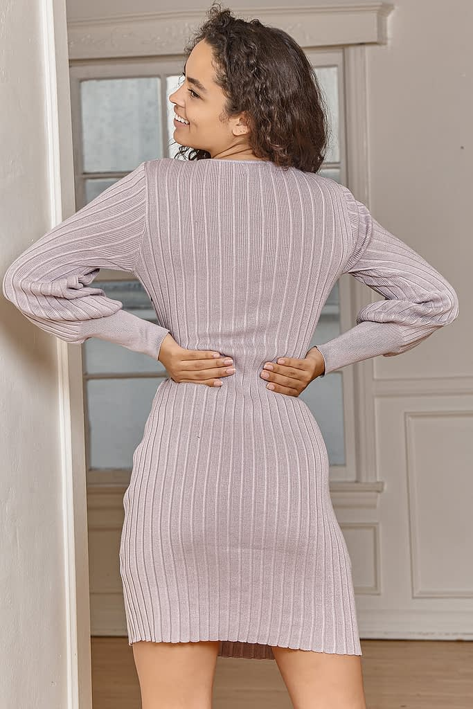 COZY MELODY DUSTY LAVENDER RIBBED LONG SLEEVE SWEATER DRESS