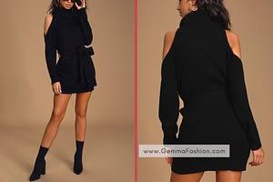SWEET DEMEANOR BLACK TURTLENECK COLD-SHOULDER SWEATER DRESS