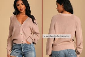 BUTTON ME UP TAUPE KNIT CARDIGAN SWEATER