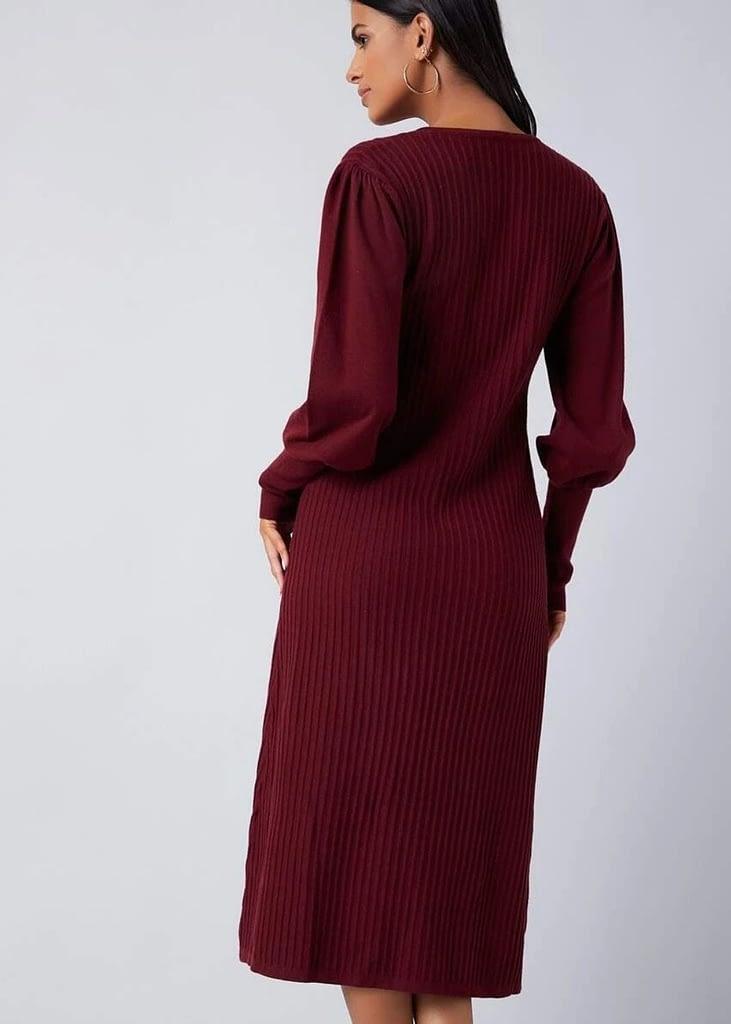 LANTERN SLEEVE RIB-KNIT SWEATER DRESS WITHOUT BELT