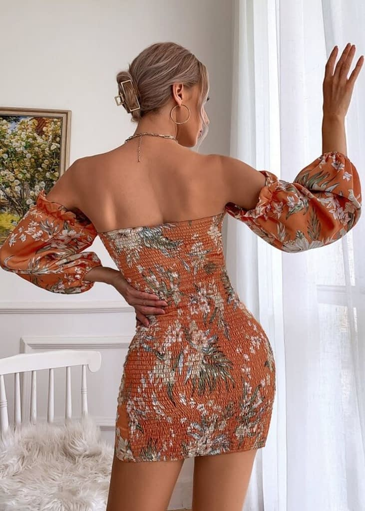 FLORAL PRINT SHIRRED BACK OFF SHOULDER DRESS