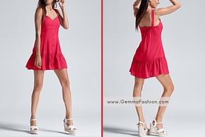 RED TIERED MINI DRESS