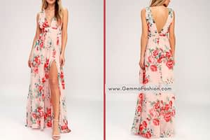 GARDEN MEANDERING BLUSH FLORAL PRINT MAXI DRESS