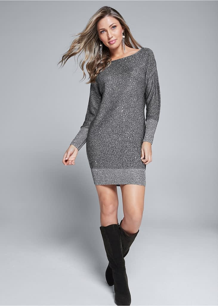 SHIMMER DETAIL SWEATER DRESS