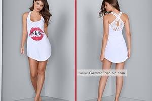 WHITE LACE BACK SLEEP DRESS