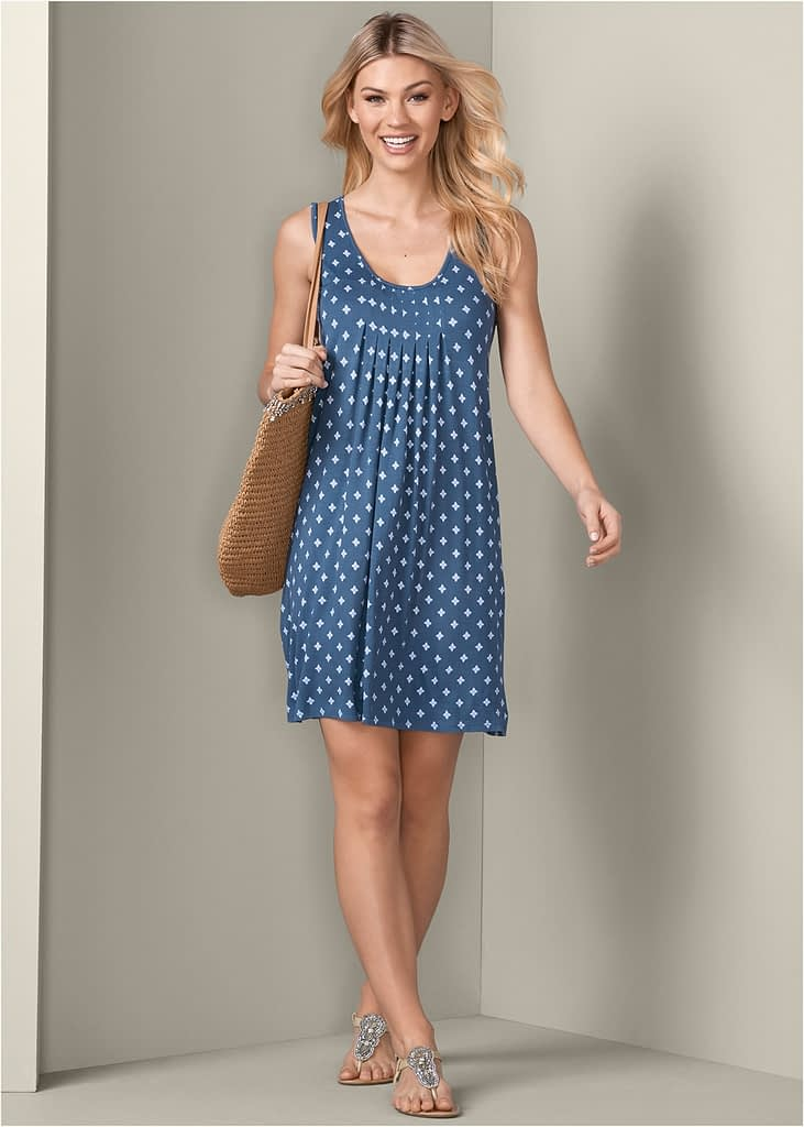 BLUE MULTI PRINT CASUAL DRESS