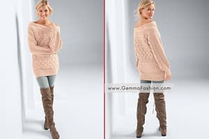 BOAT NECK CABLE KNIT SWEATER