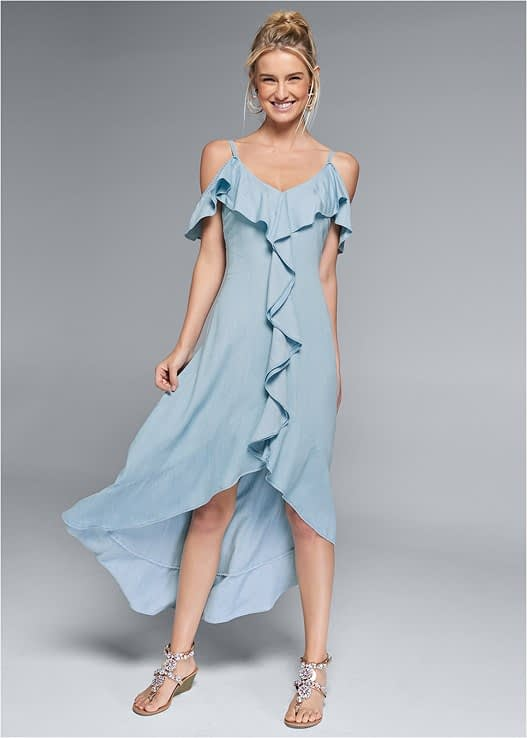 CHAMBRAY DRESS IN LIGHT WASH