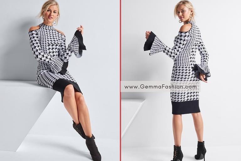 COLOR BLOCK SWEATER DRESS