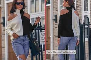 RIBBED TWO-TONED OPEN-SHOULDER TURTLENECK SWEATER
