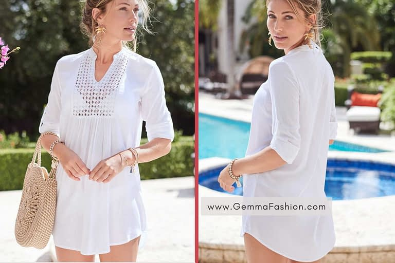 WHITE SHEER TUNIC COVER-UP