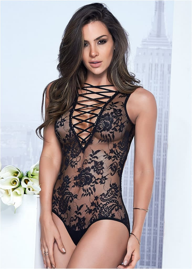 SHEER LACE-UP BODYSUIT