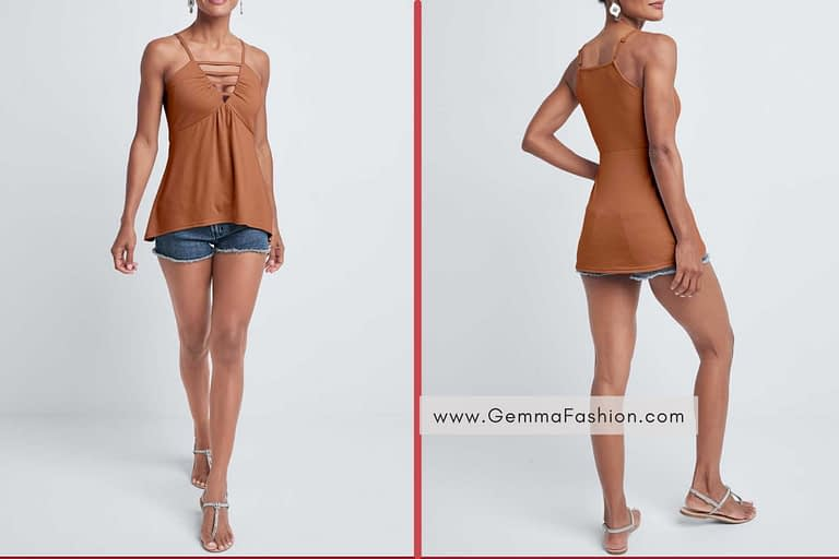 BROWN STRAPPY SLEEVELESS TOP