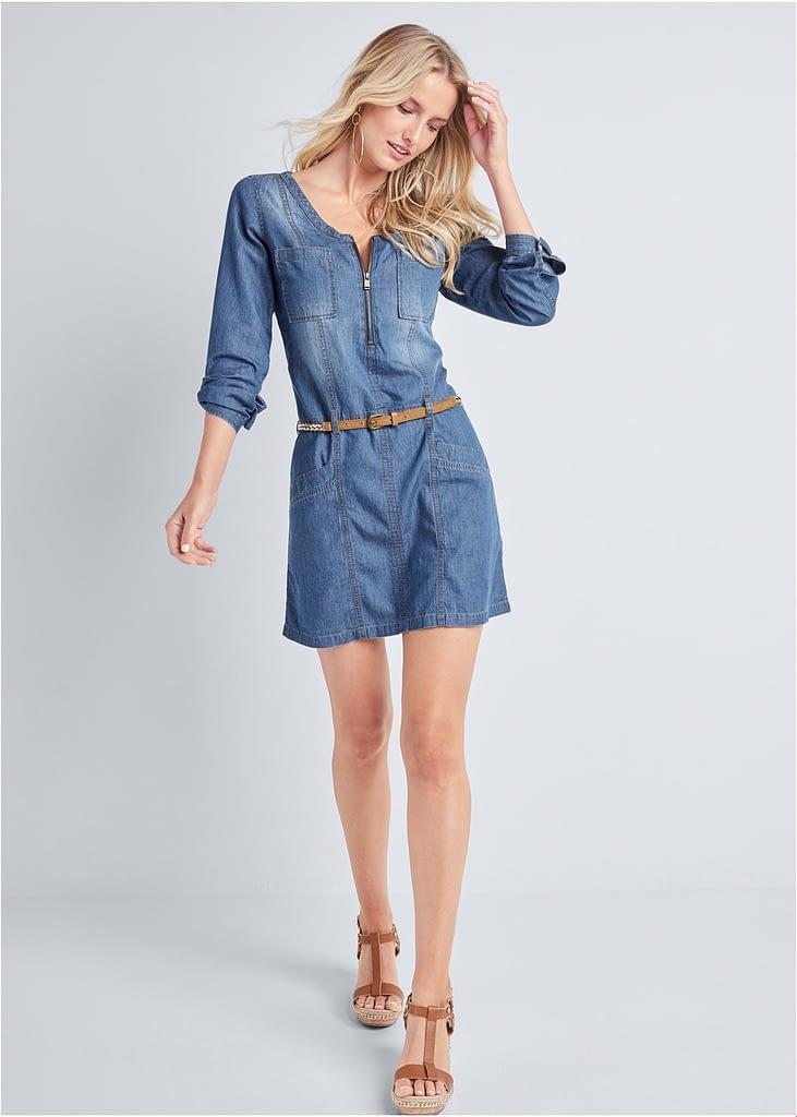 BELTED CHAMBRAY MINI DRESS - A-LINE MINI DRESS CASUAL